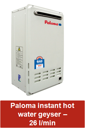 Paloma instant hot water geyser 26 litre per minute