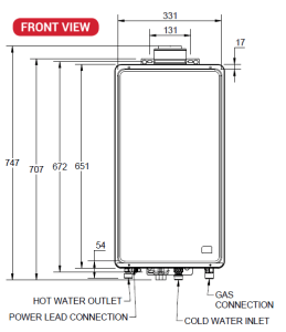 Paloma 27 litre front view schematic