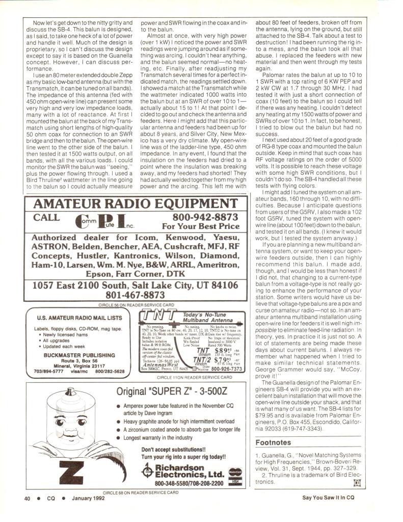 SB Review CQ 1992 Page 2 791x1024 - Super Baluns