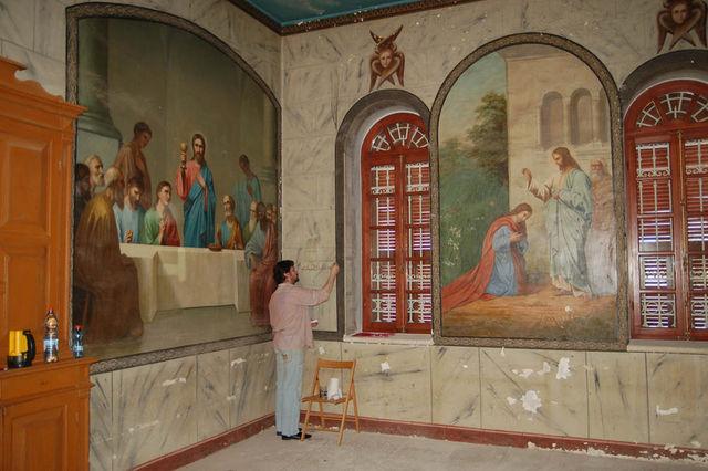 Работа реставратора в народной трапезной. © Иерусалимское отделение ИППО