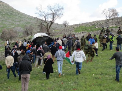 Palestinian activists undeterred by the army's presence