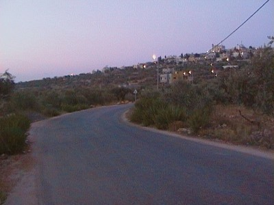 Road where Israeli army set up the flying checkpoint (Photo by ISM)