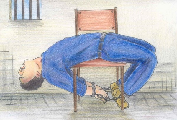 Example of common stress-position (torture position) utilised in Israeli interrogation