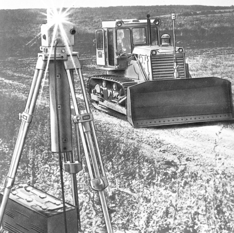 DZ-110A-1 Bulldozer with laser-beam steering and control system. Surface-working accuracy +-5 cm at 10-400 mm distance from the laser source. Such a set-up is common today; at the time it was not.