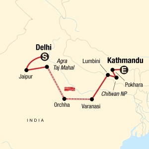 Map of GAdventures Delhi to Kathmandu tour