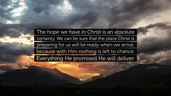 "Billy Graham Quotes On Hope Billy Graham Quote ""The Hope We Have In Christ Is An Absolute"