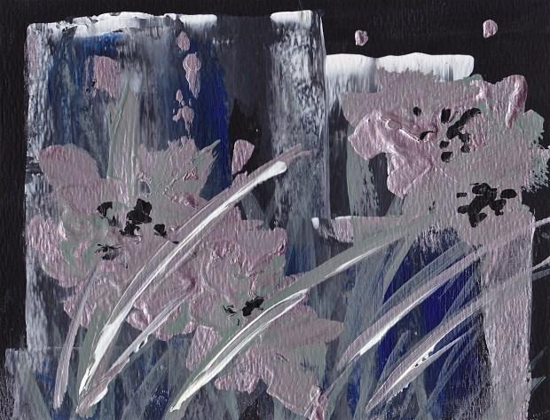 """Night Blooms, Acrylic on Watercolor paper 5""""T X 6.5""""W www.pameladunmirefineart.com"""