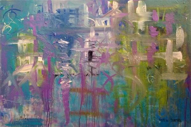 """""""Winters End"""" Acrylic Painting on Gallery Wrap Canvas, 24""""T X 36""""W http://www.pameladunmirefineart.com"""