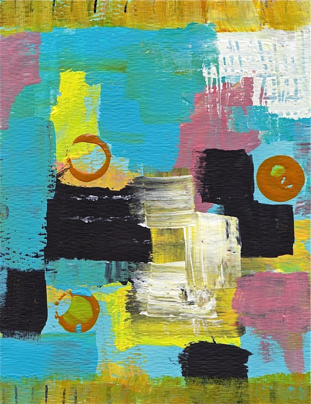 """Abstract Study #3"" Acrylic on Watercolor paper, 6.5""T X 5""W www.pameladunmirefineart.com"