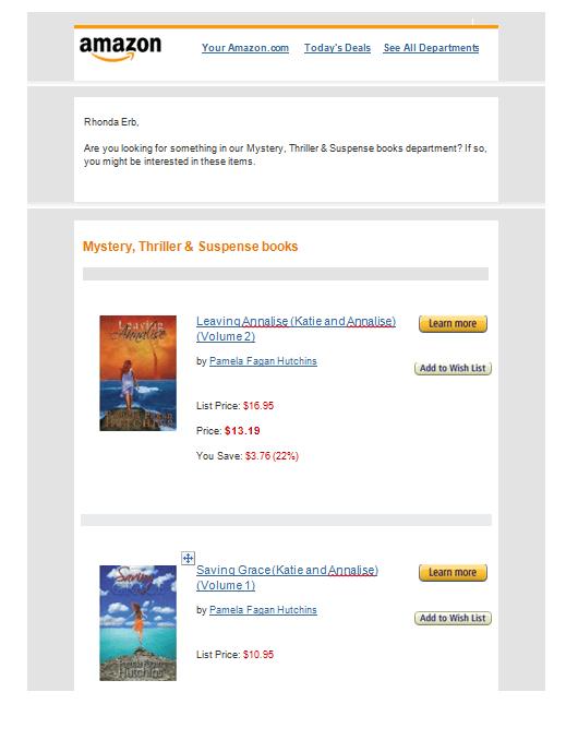 amazon email recommending LA & SG