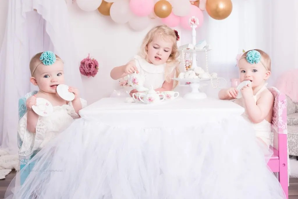 One Year Tea Party Photography Session Twins