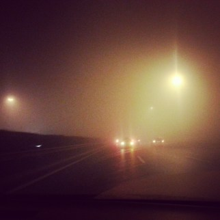 Pollution driving from the airport to our hotel on the night we landed in Beijing