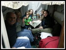 The family in our cozy cabin