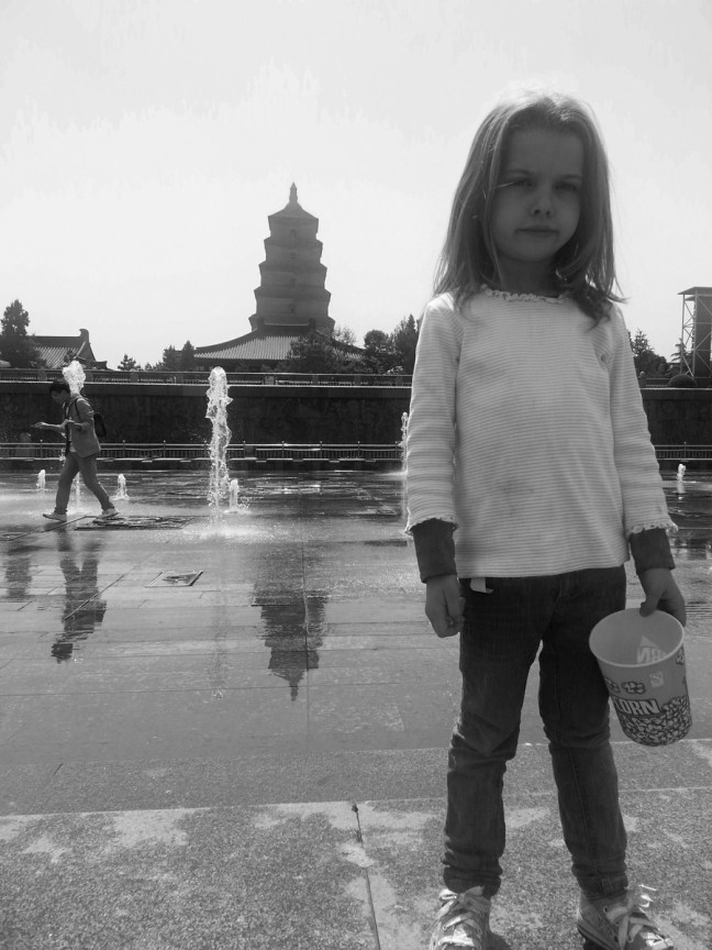 Sophia and the Great Wild Goose Pagoda in the background