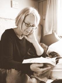 My mom reading Footprint Tibet