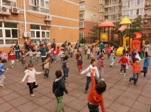 Dance performance on the playground