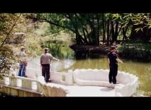 Fishing from a lotus bridge