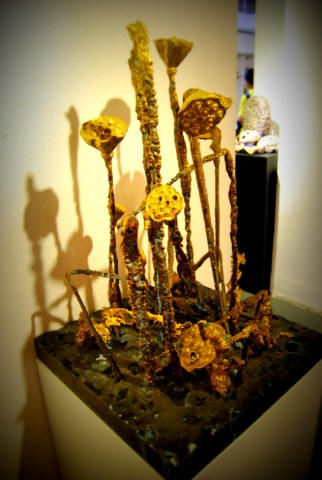 Copper lotus pods at a 798 gallery