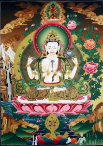 A thangka depicting Chenrezig, the Bodhisattva of Compassion (photo from ebay.com)