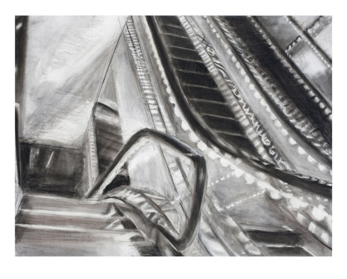 """""""Marriott Marquis, 2"""", charcoal and ink on primed paper, 33"""" x 44"""", 2010"""