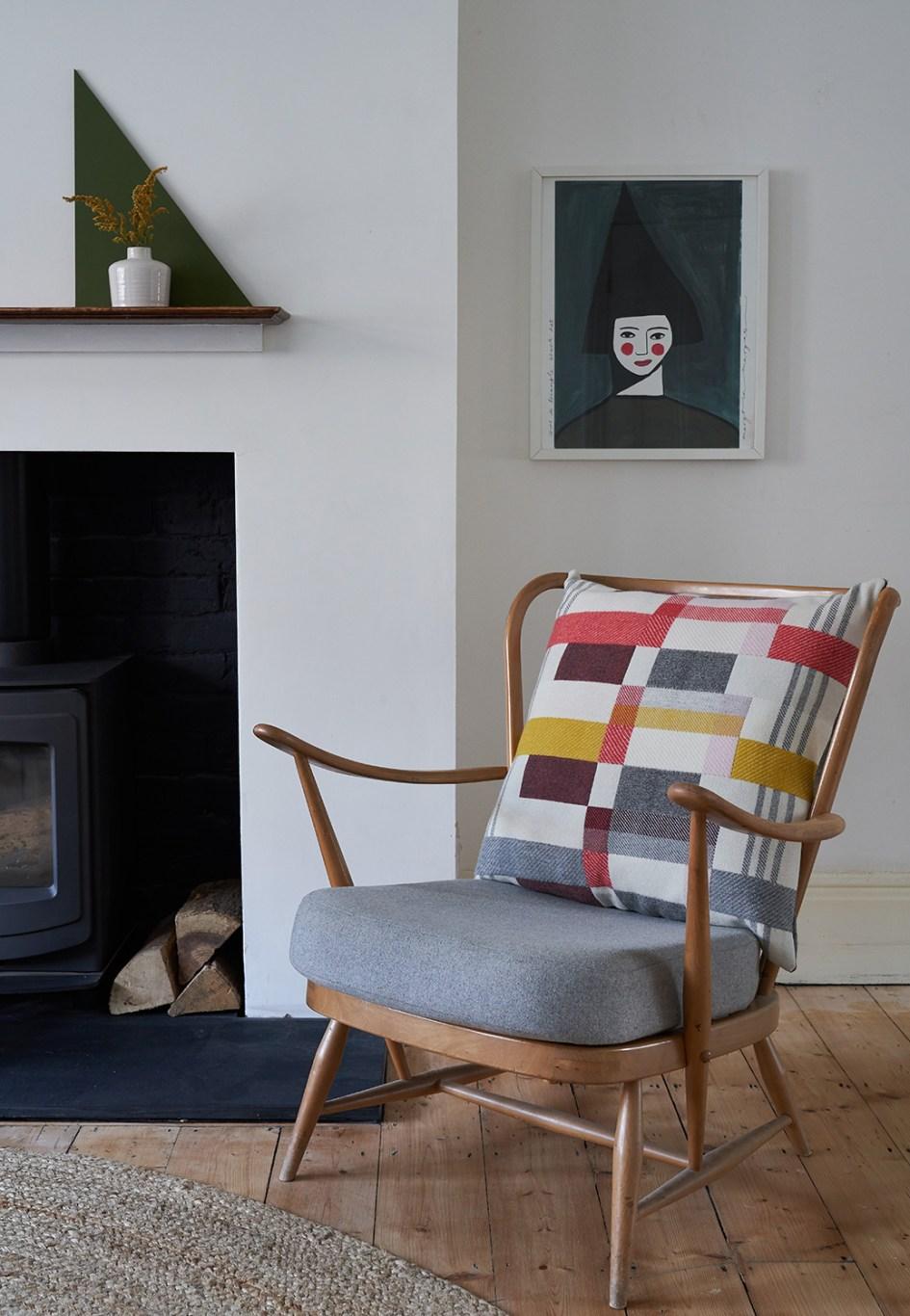 Handwoven merino wool cushions art deco block woven stripe