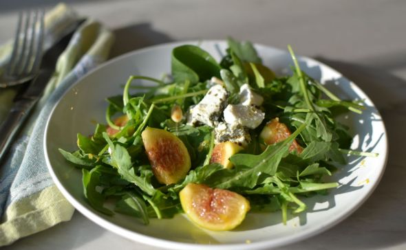 Fig, Goat Cheese, and Toasted Pine Nut Salad