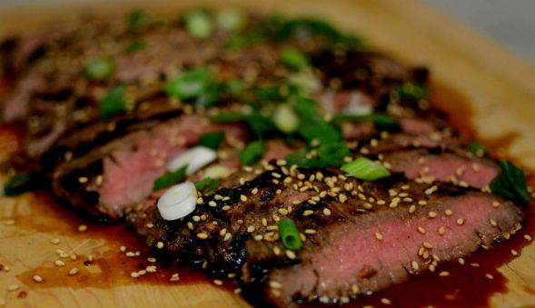 Asian Flank Steak with Scallions and Sesame Seeds