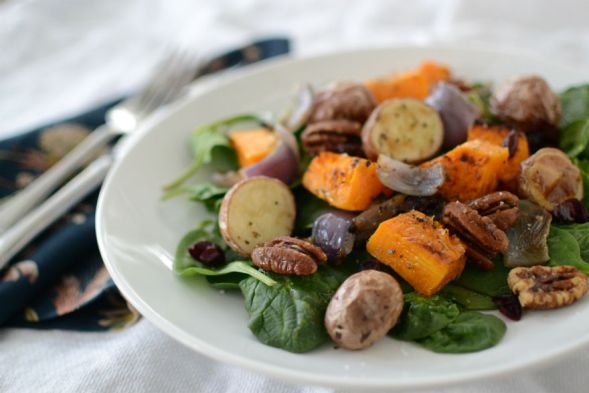 Spinach Salad with Butternut Squash, Roasted Potatoes and Cayenne Spiced Pecans