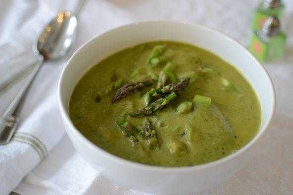 Cream of Asparagus Leek and Kale Soup