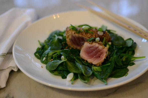Sesame Seared Tuna with Garlicky Wilted Spinach