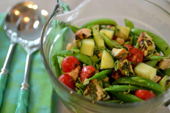 Chicken Salad with Pesto and Garden Vegetables