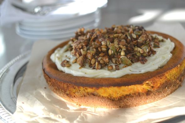 Pumpkin Cheesecake with Candied Nut Topping
