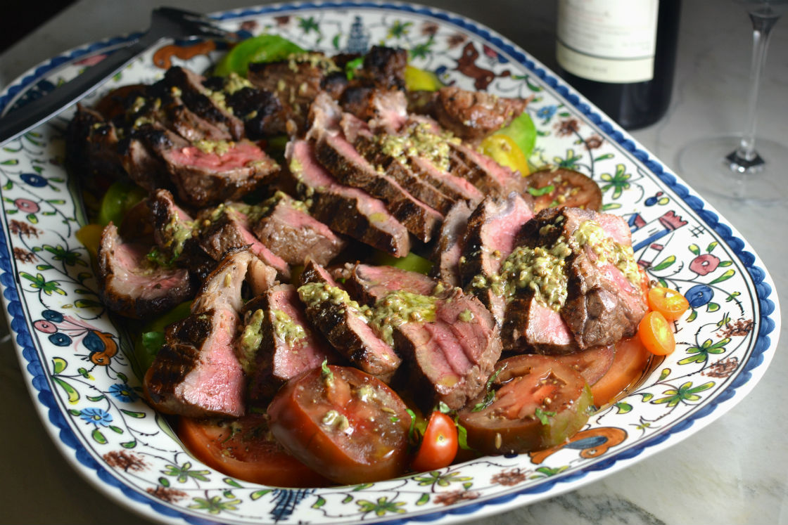 Strip steak with heirloom tomatoes and vinaigrette