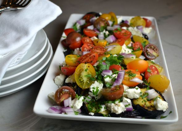 Tomato Feta Eggplant Salad with Lemon Vinaigrette