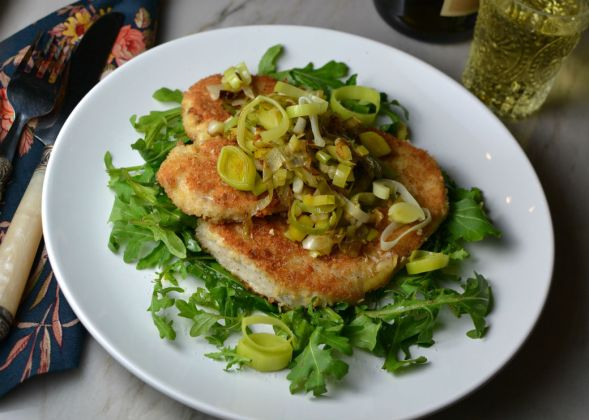 Swordfish Cutlets with Caramelized Leeks