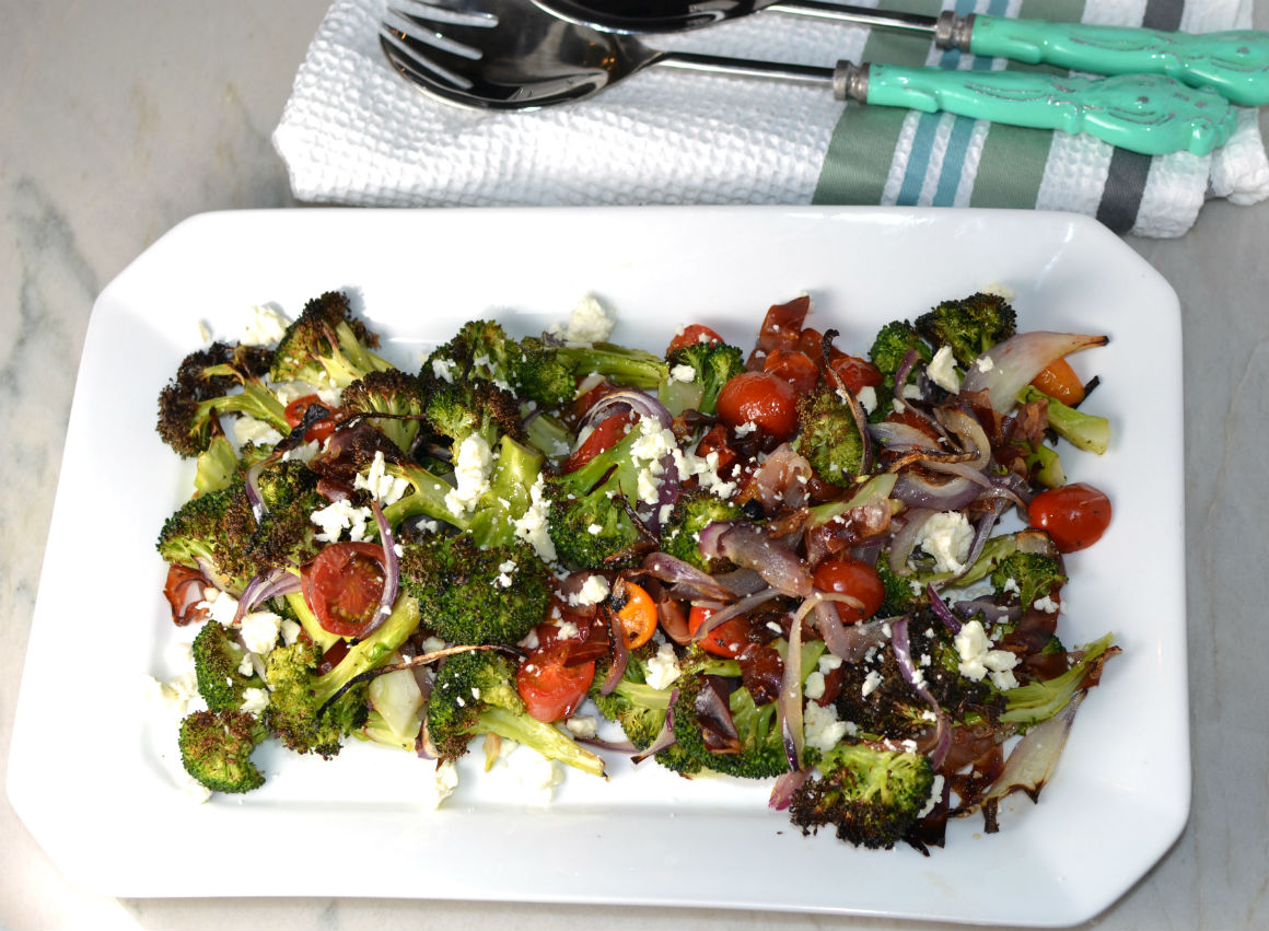 Charred Brocolli salad with feta