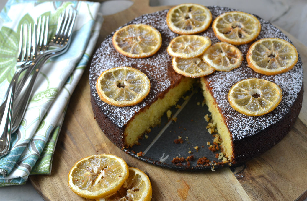 Lemon Almond Cake with Candied Lemons