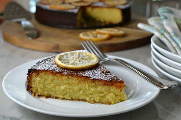 Almond Cornmeal Cake with Candied Lemons