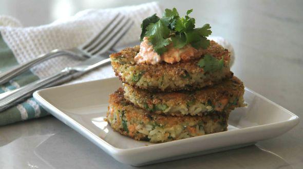 Asian Salmon Rice Cakes with Kimchi Mayo