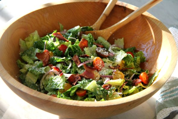 Caesar Salad with Bacon Tomatoes and Onion