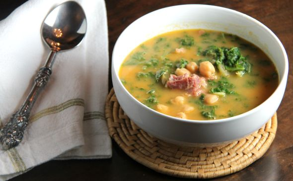 Chick Pea Smoked Ham and Kale Soup