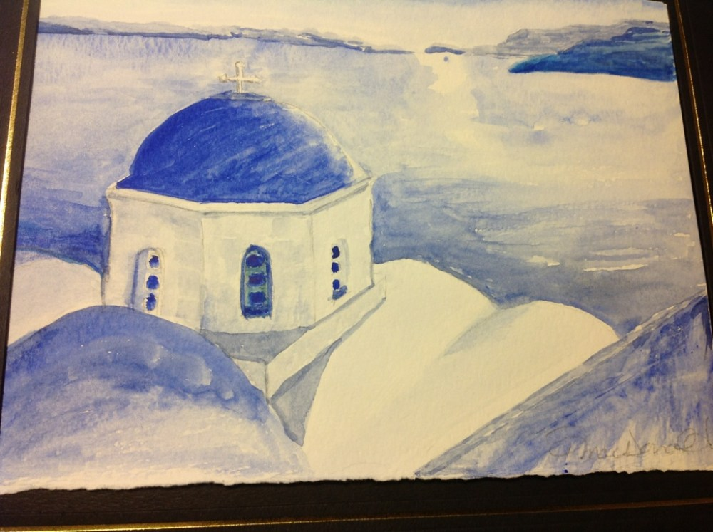 My watercolor painting of Santorini