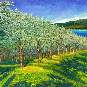 Orchard oil painting