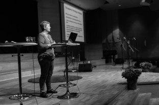 """Anna Hövenmark på seminariet """"En röd ekologisk omställning"""". Fotograf: Jöran Fagerlund."""