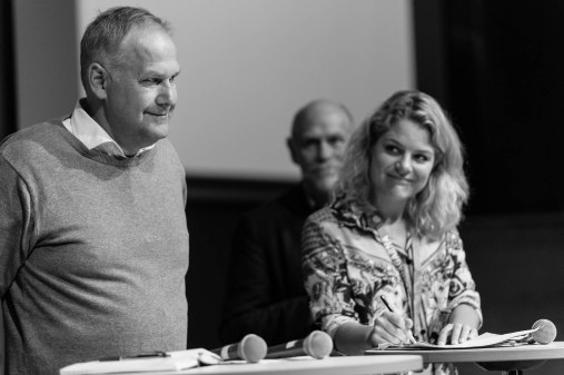 Jonas Sjöstedt och Johanne Schmidt-Nielsen, politisk ordförande för danska Enhedslistan. Fotograf: Jöran Fagerlund.