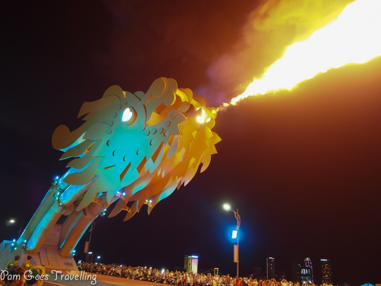The dragon that spits fire and spout water attracts many people over the weekend.