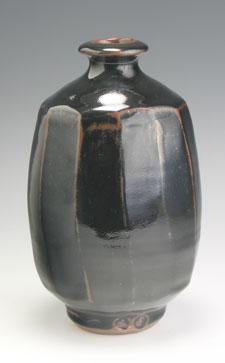 black faceted vase