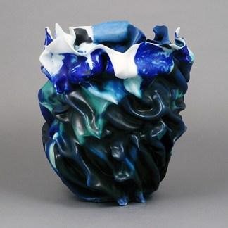 Blues and white folded vase