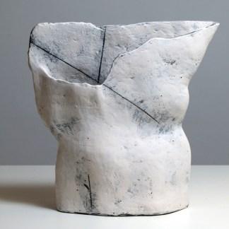 White sculptural vase
