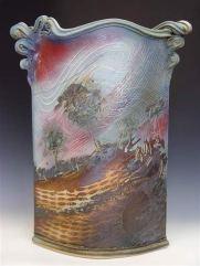 Rectangualr Vase with landscape scene